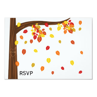 Autumn Falling Leaves RSVP / Reply Cards 9 Cm X 13 Cm Invitation Card