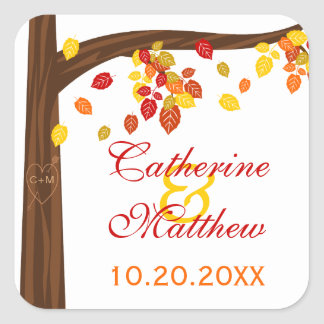 Autumn Falling Leaves Save The Date Stickers