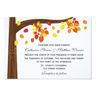 Autumn Falling Leaves Wedding Invitation