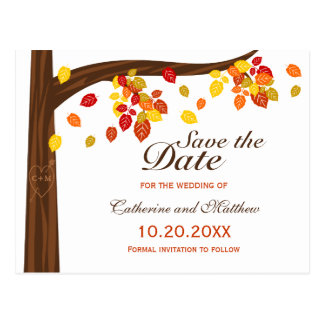Autumn Falling Leaves Wedding Save The Date Postcard