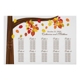 Autumn Falling Leaves Wedding Seating Chart Poster