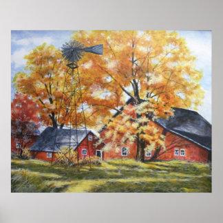 Autumn Farm House Poster