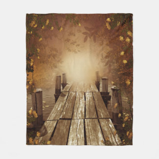 Autumn Fishing Pier Fleece Blanket