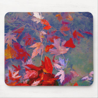 Autumn floating leaves mouse pad