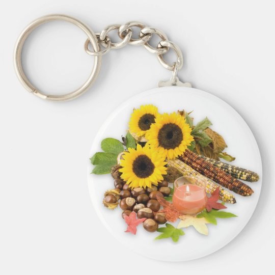 Autumn Floral Arangement Key Ring