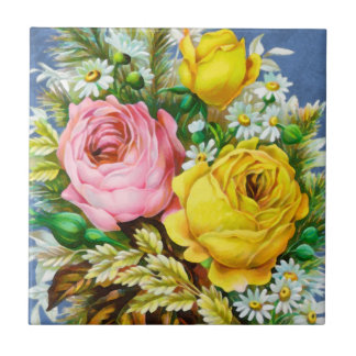 Autumn Floral Bouquet Watercolor Tile