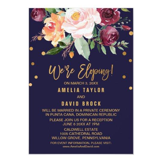 Autumn Floral Elopement Reception Invitation