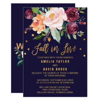Autumn Floral | Fall In Love Wedding Card