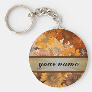 Autumn floral basic round button key ring