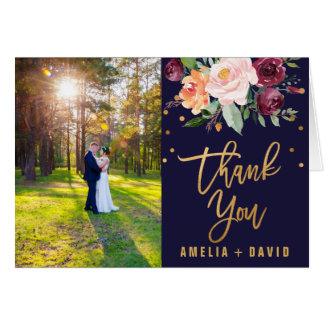 Autumn Floral Photo Thank You Card