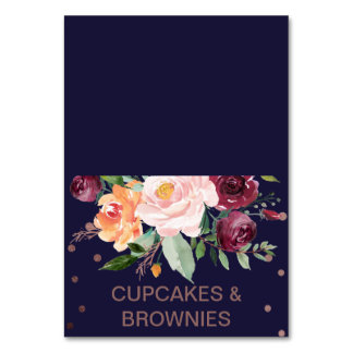 Autumn Floral Rose Gold Buffet Food Labels Card