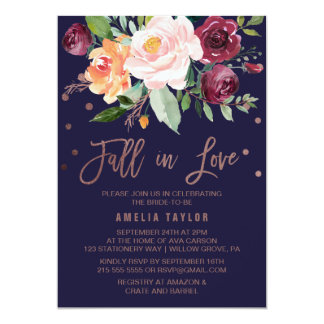 Autumn Floral Rose Gold Fall in Love Bridal Shower Card
