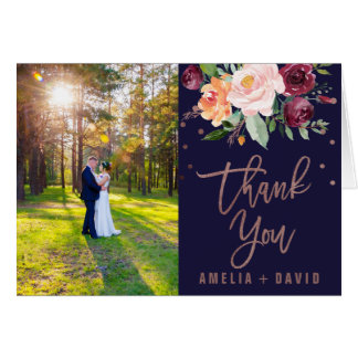 Autumn Floral Rose Gold Photo Thank You Card