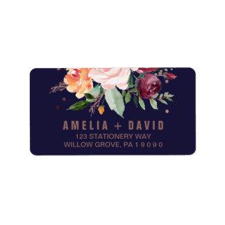 Autumn Floral Rose Gold Wedding Label