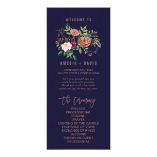Autumn Floral Rose Gold Wedding Program Rack Card