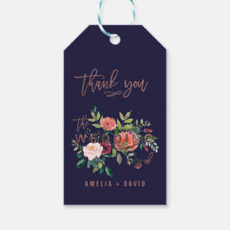 Autumn Floral Rose Gold Wedding Thank You Gift Tags