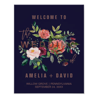 Autumn Floral Rose Gold Wedding Welcome Poster