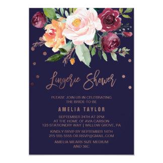 Autumn Floral Rose Gold Wreath Lingerie Shower Card