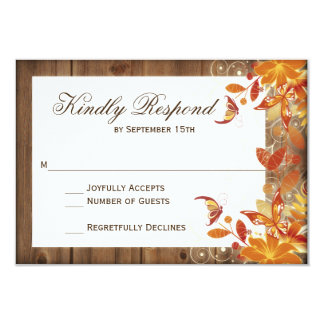 Autumn Floral Rustic Wood Fall Wedding RSVP Cards 9 Cm X 13 Cm Invitation Card