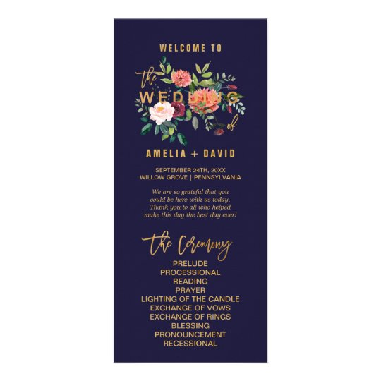 Autumn Floral Wedding Program Rack Card