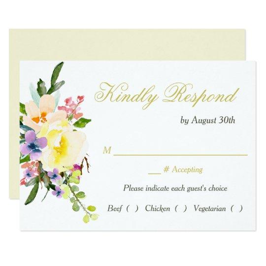 Autumn Floral Wedding Rehearsal Dinner RSVP Card