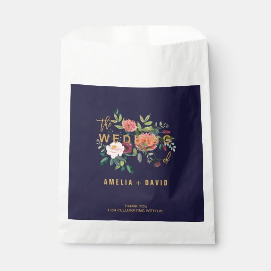 Autumn Floral Wedding Typography Thank You Favour Bags