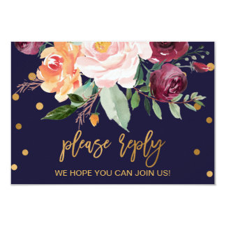 Autumn Floral Wedding Website RSVP Card