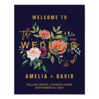Autumn Floral Wedding Welcome Poster