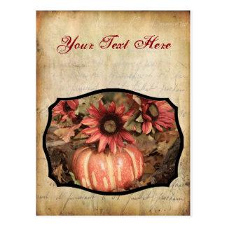 Autumn Flowers and Pumpkin Photograph Postcard