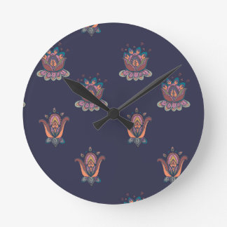 Autumn Flowers Clock Navy