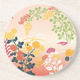 Autumn flowers drink coasters