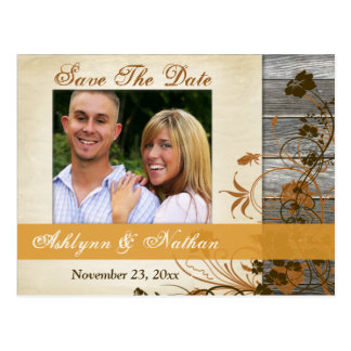 Autumn Flowers, FAUX Wood Save the Date Post Card