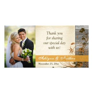 Autumn Flowers FAUX Wood Wedding Photo Card