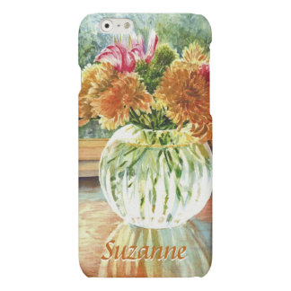 Autumn Flowers in Glass Vase with Your Name iPhone 6 Plus Case