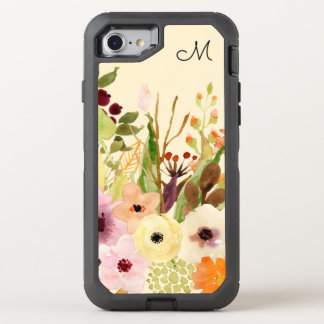 Autumn Flowers Monogram OtterBox Defender iPhone 8/7 Case