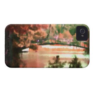Autumn Foliage Fall Scene Lake Bridge Watercolor iPhone 4 Cover