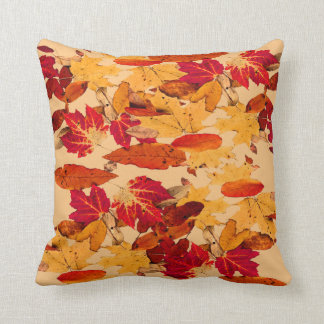 Autumn Foliage in Red Orange Yellow Brown Cushion