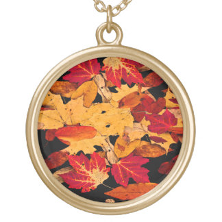 Autumn Foliage in Red Orange Yellow Brown Gold Plated Necklace