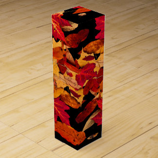 Autumn Foliage in Red Orange Yellow Brown Wine Gift Box