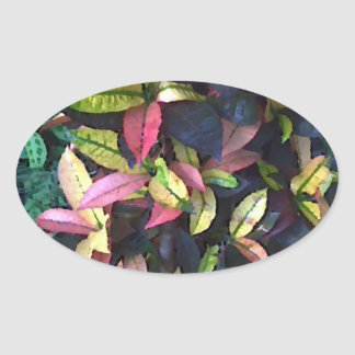 Autumn Foliage Oval Sticker