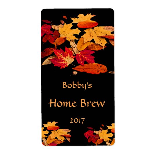 Autumn Foliage Red Orange Yellow Brown Beer Label Shipping Label