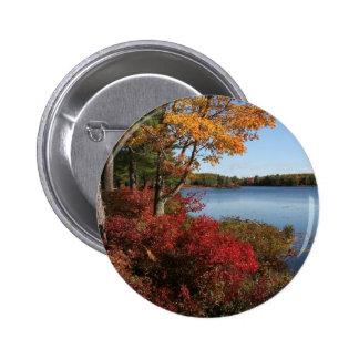 Autumn Foliage Splendor Forest Lake Destiny Pinback Button