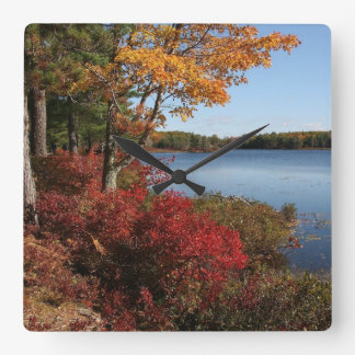 Autumn Foliage Splendor Forest Lake Destiny Square Wall Clock