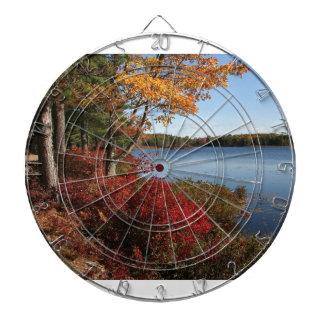 Autumn Foliage Splendor Forest Lake Destiny Dartboard With Darts