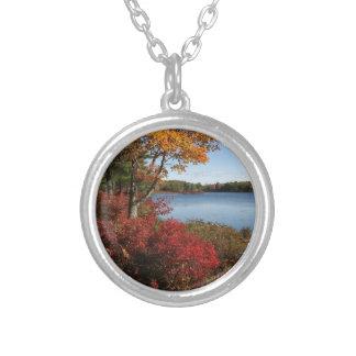 Autumn Foliage Splendor Forest Lake Destiny Silver Plated Necklace