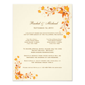 Autumn Foliage Wedding Accomodations Card
