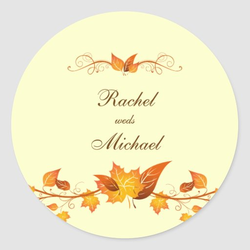 Autumn Foliage Wedding Envelope Seals Round Stickers