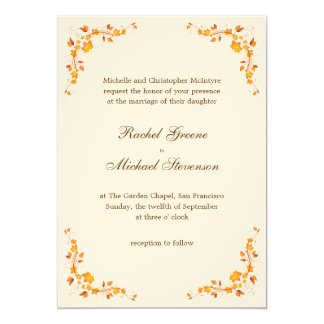 Autumn Foliage Wedding Invitation 5 x 7 Card