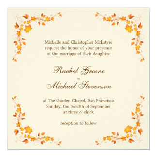 Autumn Foliage Wedding Invitation Card