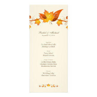 Autumn Foliage Wedding Menu Card Custom Invitations